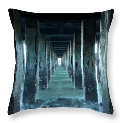 Seascapes Throw Pillow featuring the photograph Into The Blue Zone by Bob Christopher