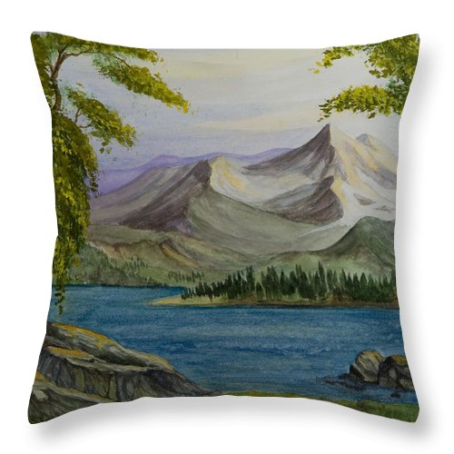 Animation Background Landscape Nature Cartoon Peaceful Mountains Lake Throw Pillow featuring the painting Tranquility by Brenda Salamone