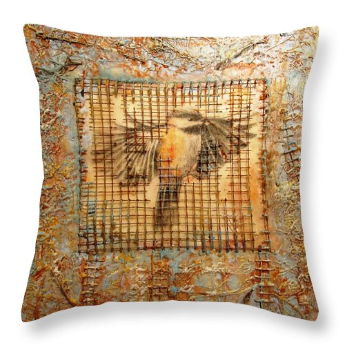 Encaustic Throw Pillow featuring the mixed media Transformation by Christine Wenderoth