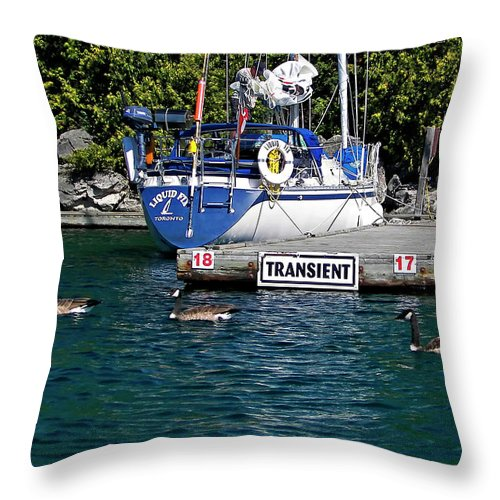 Yacht Throw Pillow featuring the photograph Transients by Steve Harrington