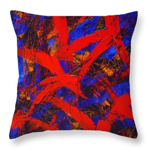 Abstract Throw Pillow featuring the painting Transitions With Blue And Red by Dean Triolo