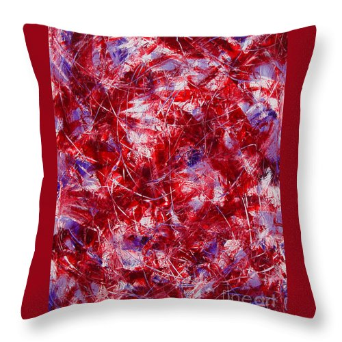 Abstract Throw Pillow featuring the painting Transitions With White Red And Violet by Dean Triolo