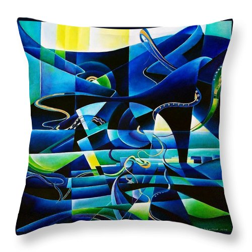Lago Maggiore Lago Di Como Claudio Monteverdi Mass For Four Voices Kyrie Eleison Throw Pillow featuring the painting Transitions by Wolfgang Schweizer