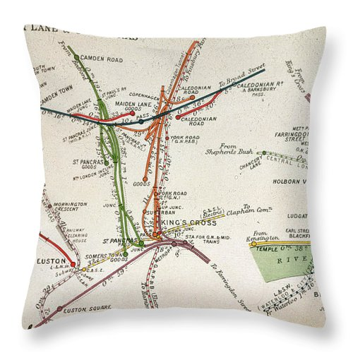 Tube Throw Pillow featuring the drawing Transport Map Of London by English School