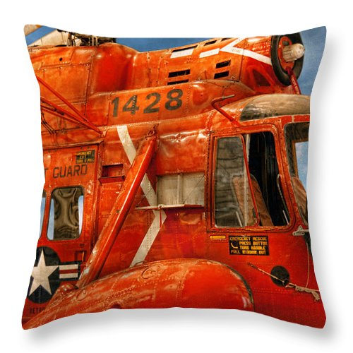 Savad Throw Pillow featuring the photograph Transportation - Helicopter - Coast Guard Helicopter by Mike Savad