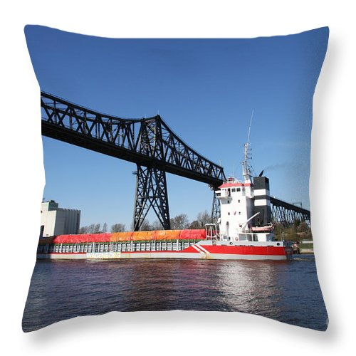 Bridge Throw Pillow featuring the photograph Transporter Bridge Over Canal Rendsburg by Christiane Schulze Art And Photography