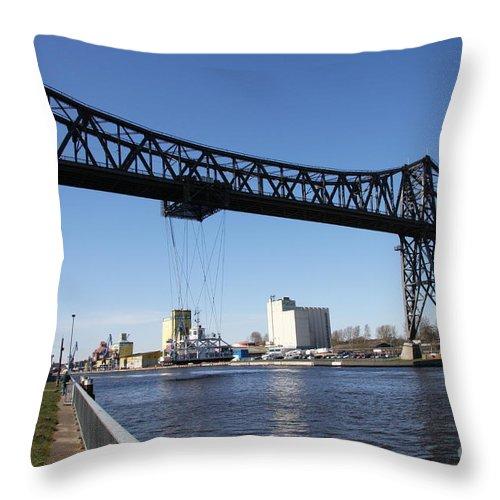Bridge Throw Pillow featuring the photograph Transporter Brigde - Schwebefaehre Rendsburg by Christiane Schulze Art And Photography