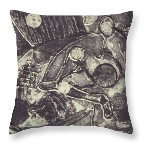 Johnpowellpaintings Throw Pillow featuring the mixed media Trapped In Time Intaglio by John Powell
