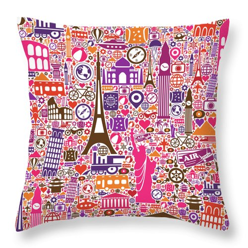 Chinese Culture Throw Pillow featuring the digital art Travel Seamless Pattern by Liana Monica Bordei