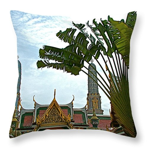 Traveler's Palm At Grand Palace Of Thailand In Bangkok Throw Pillow featuring the photograph Traveler's Palm At Grand Palace Of Thailand In Bangkok by Ruth Hager