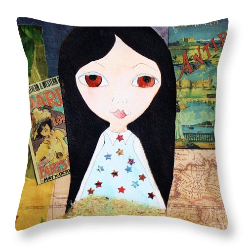 Girl Throw Pillow featuring the painting Traveling Little Girl by Melinda Etzold