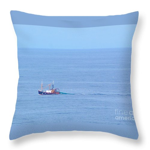 Fishing Throw Pillow featuring the photograph Trawling by Nancy L Marshall