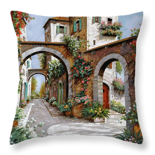 Arches Throw Pillow featuring the painting Tre Archi by Guido Borelli