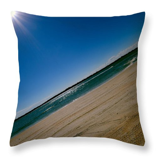 Beach Throw Pillow featuring the photograph Treads In The Sand by DigiArt Diaries by Vicky B Fuller