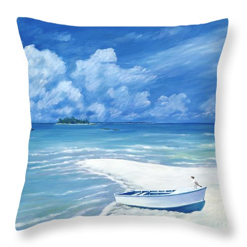 Seascape Throw Pillow featuring the painting Treasure Cay by Danielle Perry