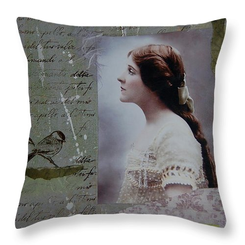 Edwardian Throw Pillow featuring the painting Treasured Moments by Tamyra Crossley