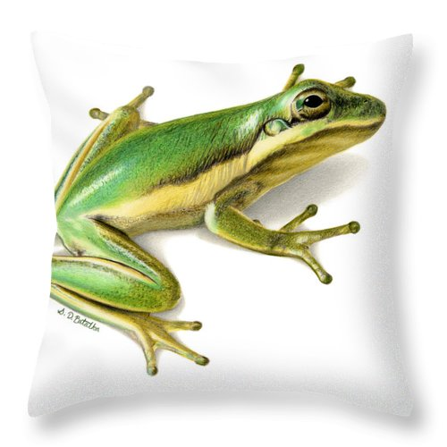 Frog Throw Pillow featuring the painting Green Tree Frog by Sarah Batalka