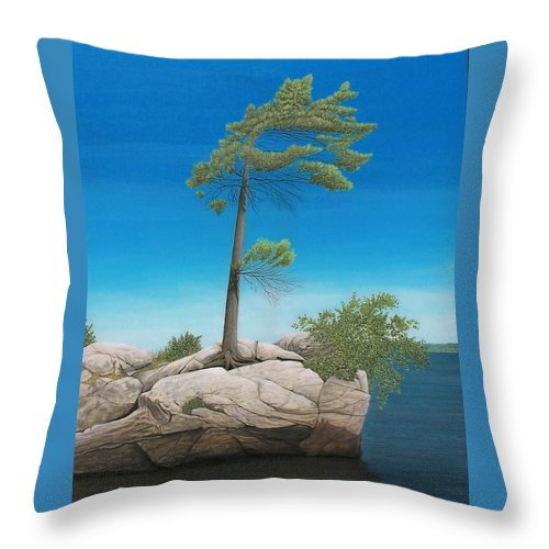 Landscapes Throw Pillow featuring the painting Tree In Rock by Kenneth M Kirsch