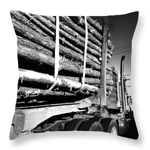 Logger Throw Pillow featuring the photograph Tree Logger by WaLdEmAr BoRrErO