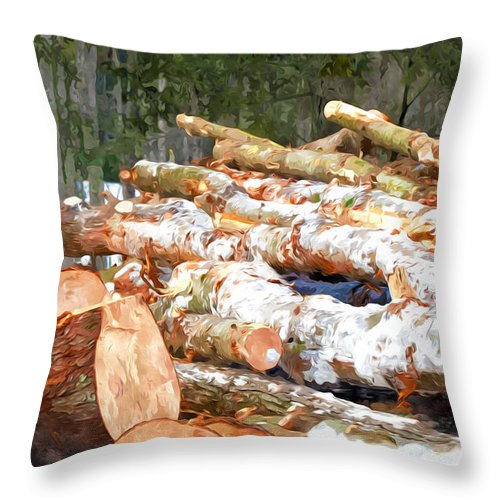 Brown Throw Pillow featuring the painting Tree Logs by Jeelan Clark