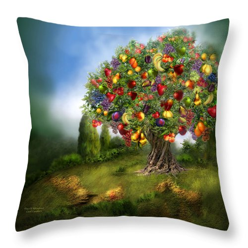 Tree Throw Pillow featuring the mixed media Tree Of Abundance by Carol Cavalaris