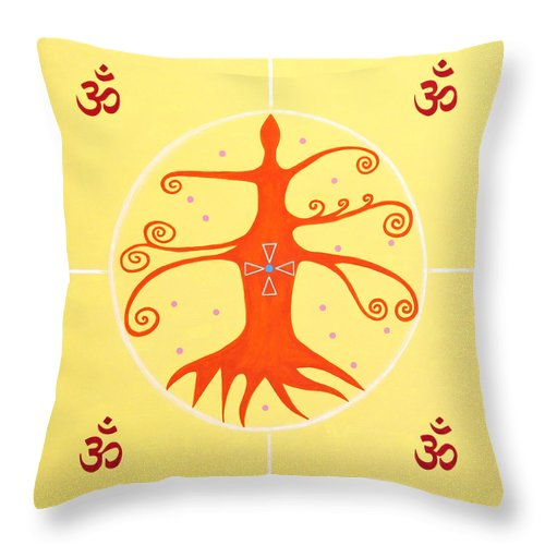 Mandala Tree Of Life Joy Spiritual Art Healing Art Visionary Art Happy Happiness Meditation Contemplation Peace Om Aum Symbol Sacred Geometry Circle Of Life Triangle Triad Sphere Throw Pillow featuring the painting Tree Of Life - Joy Mandala by Elle Nicolai