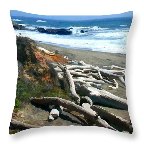 Landscape Throw Pillow featuring the painting Tree Skeletons At Ocean's Edge by Elaine Plesser