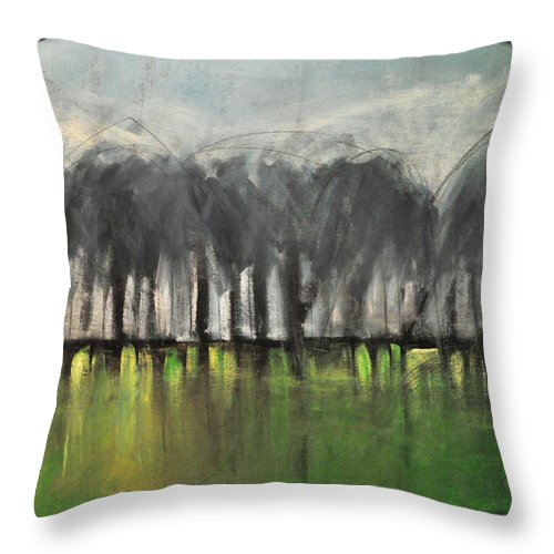 Trees Throw Pillow featuring the painting Treeline by Tim Nyberg