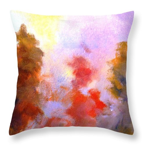 Paintings By Lyle Throw Pillow featuring the painting Trees In The Morning by Lord Frederick Lyle Morris - Disabled Veteran