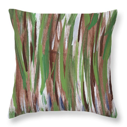 Abstract Throw Pillow featuring the painting Trees by Laura Lane