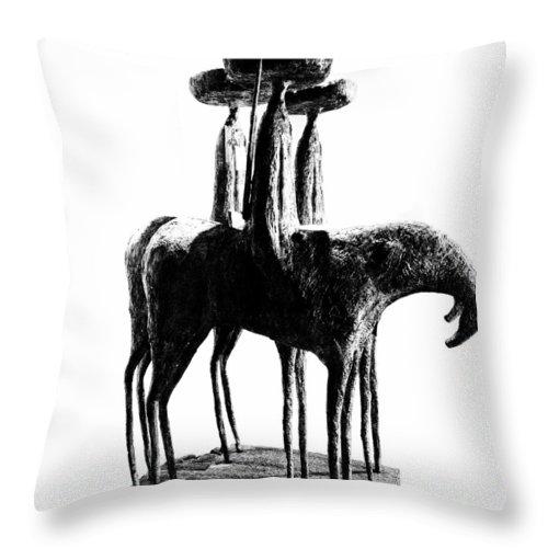 Sculpture Throw Pillow featuring the photograph Tres Amigos by Natasha Marco