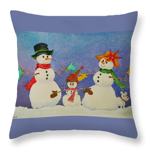 Winter Throw Pillow featuring the painting Tres Chic by Mary Ellen Mueller Legault