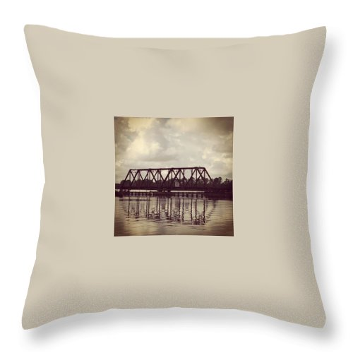 Tressle Throw Pillow featuring the photograph Trestle On The Pamlico River by Joan Meyland