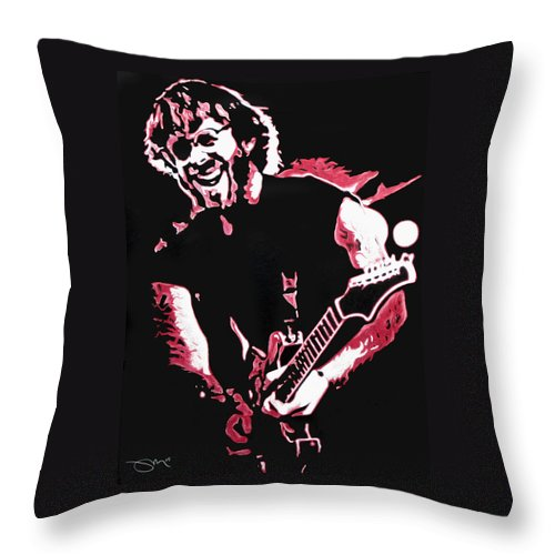 Phish Throw Pillow featuring the drawing Trey Anastasio In Pink by Joshua Morton