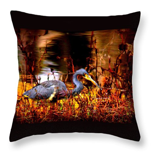 Tri-colored Throw Pillow featuring the photograph Tri Colored Heron - Reflection by Travis Truelove