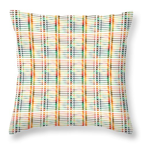Aztec Arrows Throw Pillow featuring the painting Tribal Aztec Arrows And Hearts Digital Artwork by Georgeta Blanaru
