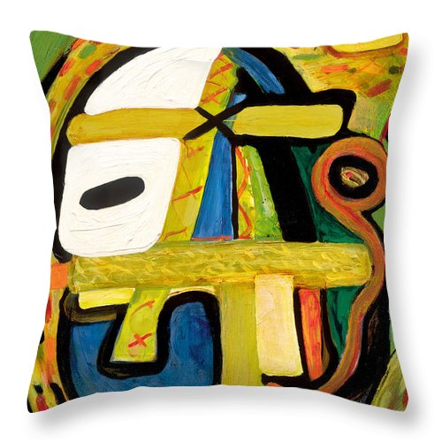 Abstract Art Throw Pillow featuring the painting Tribal Mood by Stephen Lucas