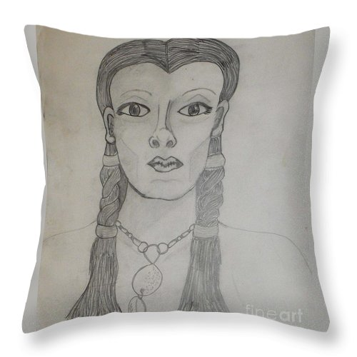 Tribal Throw Pillow featuring the drawing Tribal Woman by Catherine Ratliff