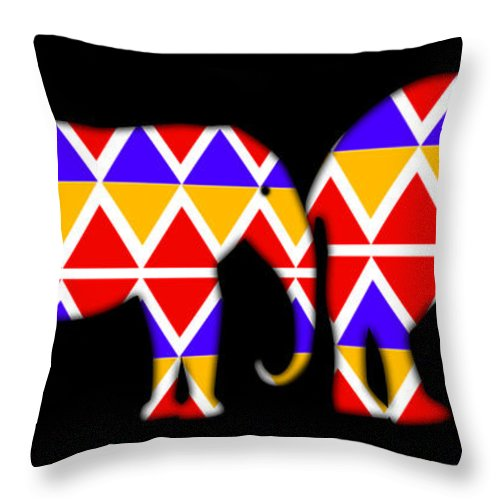 Elephants Throw Pillow featuring the digital art Tribe by Charles Stuart