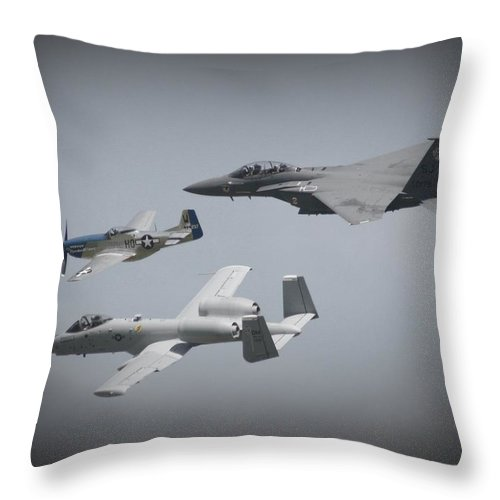 Airplane Throw Pillow featuring the photograph Tribute Flight Wafb 09 Tribute Flight by David Dunham