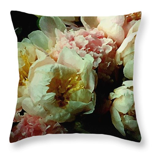 Peonies Throw Pillow featuring the painting Tribute To The Old Masters by RC DeWinter