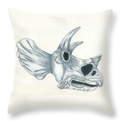 Dinosaur Throw Pillow featuring the drawing Tricerotops Skull by Micah Guenther