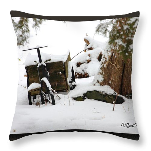 Winter Throw Pillow featuring the photograph Tricycle Cart by PJQandFriends Photography