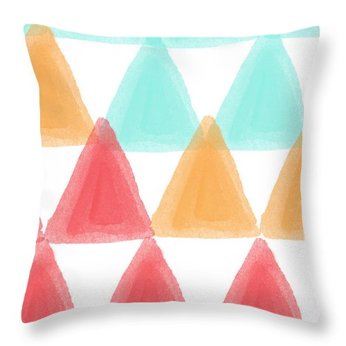 Triangles Throw Pillow featuring the painting Trifold- colorful abstract pattern painting by Linda Woods