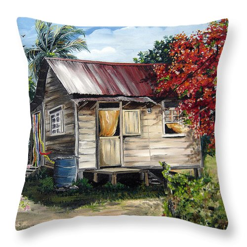 Landscape Paintings Tropical Paintings Trinidad House Paintings House Paintings Country Painting Trinidad Old Wood House Paintings Flamboyant Tree Paintings Caribbean Paintings Greeting Card Paintings Canvas Print Paintings Poster Art Paintings Throw Pillow featuring the painting Trinidad Life 1 by Karin Dawn Kelshall- Best