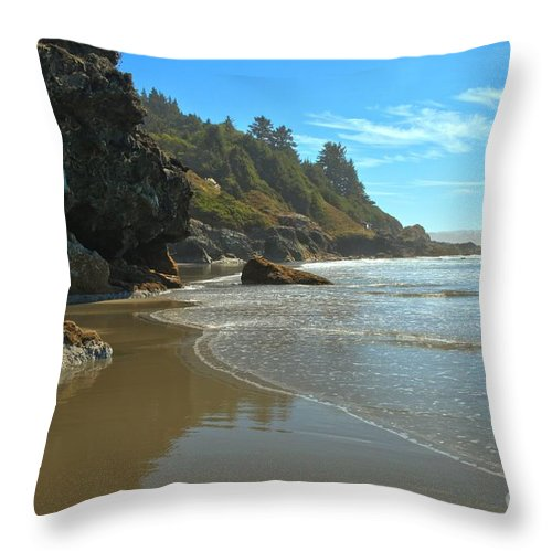 Luffenholtz Beach Throw Pillow featuring the photograph Trinidad Luffenholtz Beach by Adam Jewell