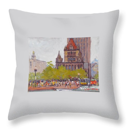 Boston Throw Pillow featuring the painting Trinity Bustle by Dianne Panarelli Miller