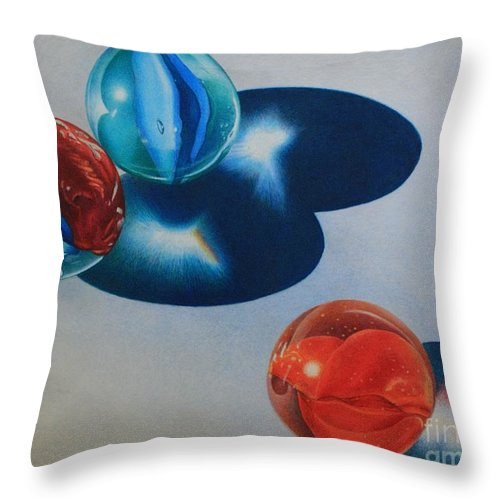 Marbles Throw Pillow featuring the painting Trio by Pamela Clements