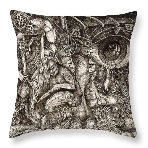Surreal Throw Pillow featuring the drawing Tripping Through Bogomils Mind by Otto Rapp