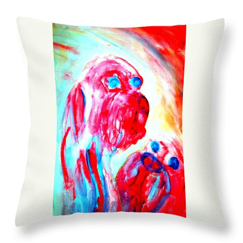 Troll Throw Pillow featuring the painting Trying To Be A Decent Troll Mother by Hilde Widerberg